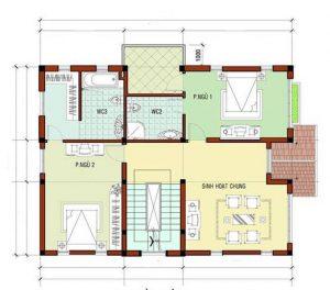 Mặt bằng công năng mẫu thiết kế biệt thự đẹp 3 tầng - 2