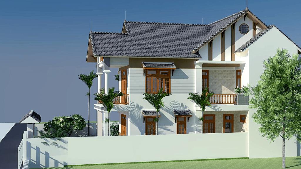 Mặt tiền mẫu thiết kế biệt thự đẹp 2 tầng hiện đại - 2