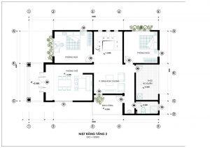 Mặt bằng công năng mẫu thiết kế biệt thự đẹp 2 tầng sang trọng - 2