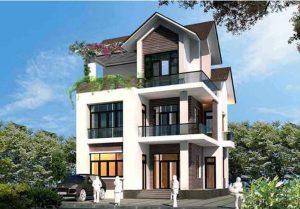 Vẻ đẹp bên ngoài mẫu thiết kế biệt thự đẹp 3 tầng mái thái