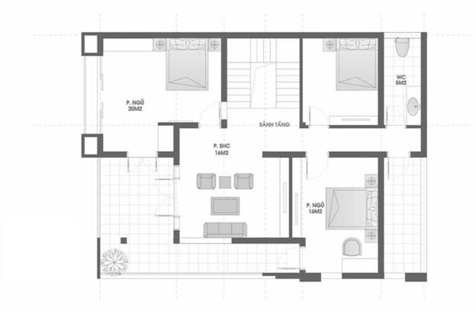 Mặt bằng công năng mẫu thiết kế biệt thự đẹp 3 tầng mái thái - 2