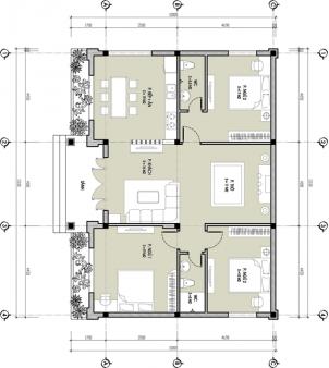 Mặt bằng công năng mẫu thiết kế nhà cấp 4 đẹp