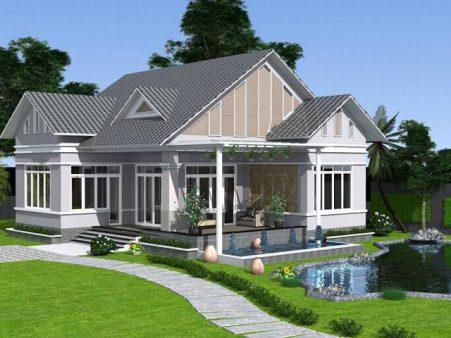 Phối cảnh 3D mẫu thiết kế nhà cấp 4 đẹp với sân vườn xanh mát - 1
