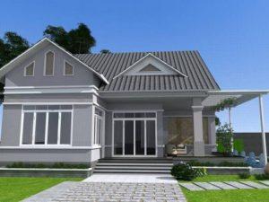 Phối cảnh 3D mẫu thiết kế nhà cấp 4 đẹp với sân vườn xanh mát - 2