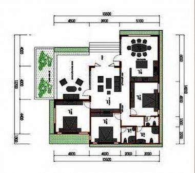 Mặt bằng công năng mẫu thiết kế nhà cấp 4 đẹp với sân vườn - 1