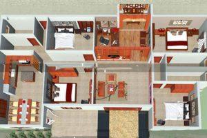 Mặt bằng công năng mẫu thiết kế nhà vườn đẹp 4 phòng ngủ