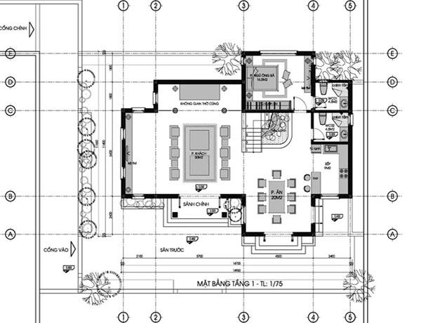 Mặt bằng tầng 1 biệt thự 2 tầng 120m2