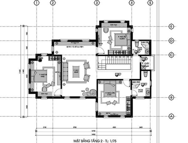 Mặt bằng tầng 2 biệt thự 2 tầng 120m2