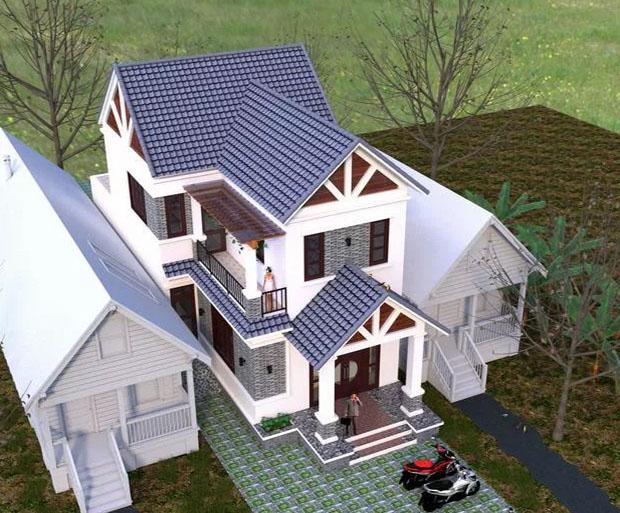 PC2 - Thiết kế biệt thự mái thái mặt tiền 7m 2 tầng