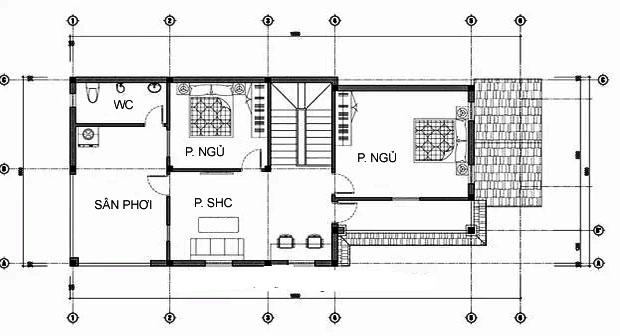 MB2 - Thiết kế biệt thự mái thái mặt tiền 7m 2 tầng