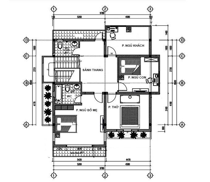 MB2 - Thiết kế biệt thự 2 tầng 3 phòng ngủ hiện đại