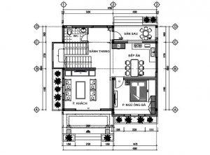 MB1 - Thiết kế biệt thự 2 tầng 3 phòng ngủ hiện đại
