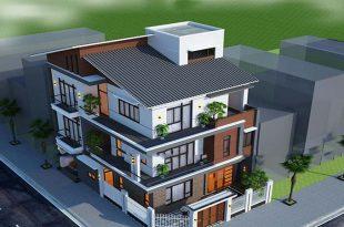 PC1 - Biệt thự 3 tầng mái lệch hiện đại 2 mặt tiền