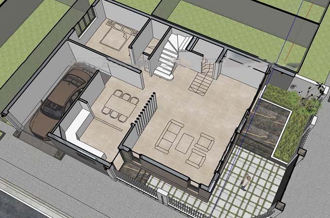 MB1 - Biệt thự 3 tầng mái lệch hiện đại 2 mặt tiền