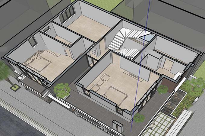 MB2 - Biệt thự 3 tầng mái lệch hiện đại 2 mặt tiền