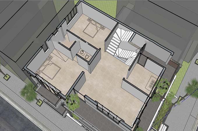 MB3 - Biệt thự 3 tầng mái lệch hiện đại 2 mặt tiền