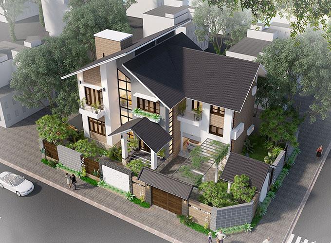 Biệt thự 2 tầng mái lệch hiện đại ở Hưng Yên quan sát từ trên cao