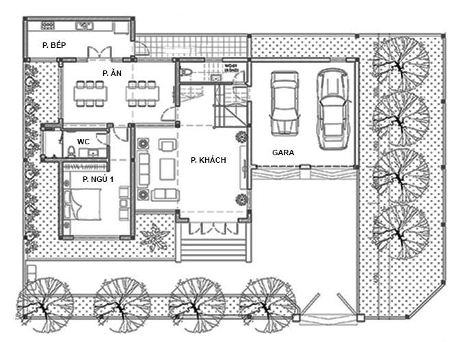 Tầng 1 - Biệt thự 2 tầng mái lệch hiện đại