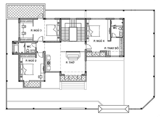 Tầng 2 - Biệt thự 2 tầng mái lệch hiện đại