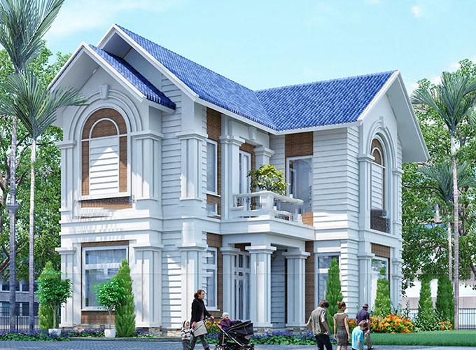 PC1 - Thiết kế biệt thự vườn 2 tầng mái thái 220m2