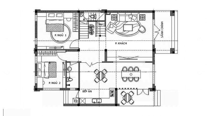 MB Tầng 1: Thiết kế biệt thư 2 tầng 4 phòng ngủ 150m2