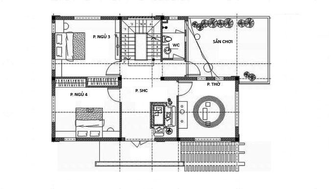 MB Tầng 2: Thiết kế biệt thư 2 tầng 4 phòng ngủ 150m2