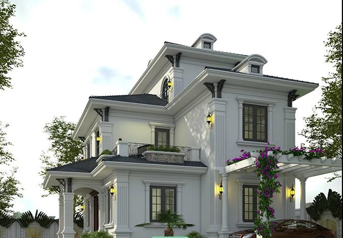 mẫu biệt thự 3 tầng mái thái đẹp