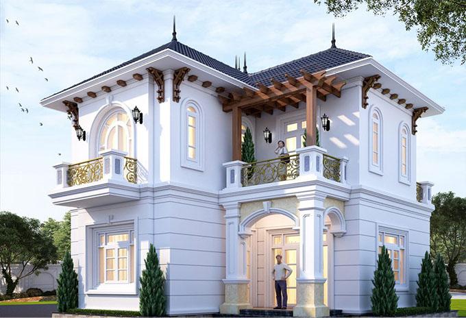 PC2 - Thiết kế biệt thự 2 tầng 80m2 tân cổ điển