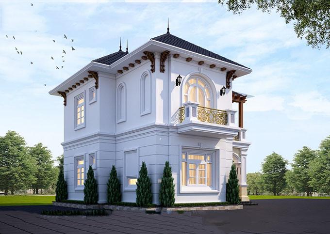 PC3 - Mặt góc biệt thự 2 tầng rộng 80m2 phong cách tân cổ điển