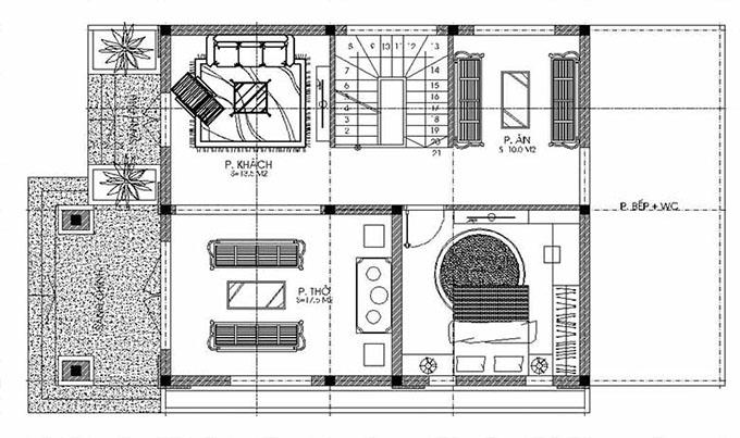 MB Tầng 1: Thiết kế biệt thự đẹp 2 tầng 80m2