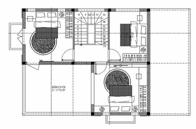 MB Tầng 2: Thiết kế biệt thự đẹp 2 tầng 80m2