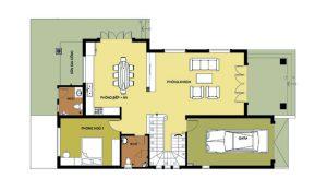 Mặt bằng tầng 1 - Biệt thự 2 tầng có gara 120m2