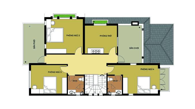 MB tầng 2 - Biệt thự 2 tầng có gara 120m2