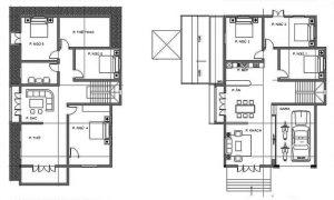 Bản vẽ công năng - Biệt thự 2 tầng mặt tiền 12m