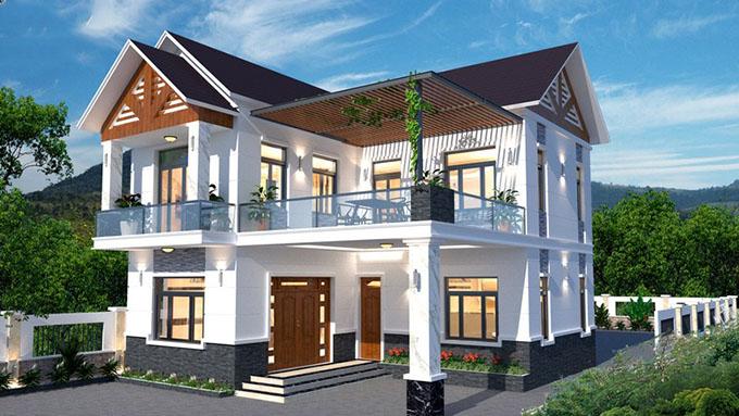 PC1 - Thiết kế biệt thự hiện đại 2 tầng chữ L 123m2