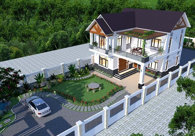 PC2 - Thiết kế biệt thự hiện đại 2 tầng chữ L 123m2