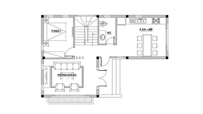 MB Tầng 1 - Biệt thự hiện đại 2 tầng 123m2