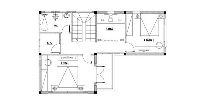 MB Tầng 2 - Mẫu biệt thự đẹp hiện đại 2 tầng 123m2
