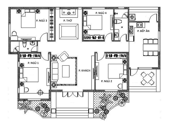 Công năng biệt thự vườn 1 tầng 150m2