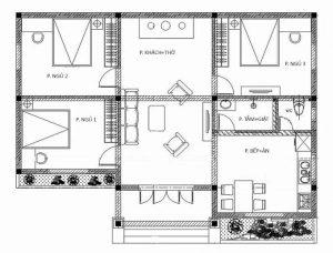 Mặt bằng nhà biệt thự 1 tầng mái thái 112m2 ở Ninh Bình