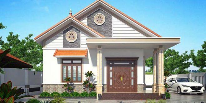 Mẫu tiền chính nhà cấp 4 4 phòng ngủ hiện đại mái thái