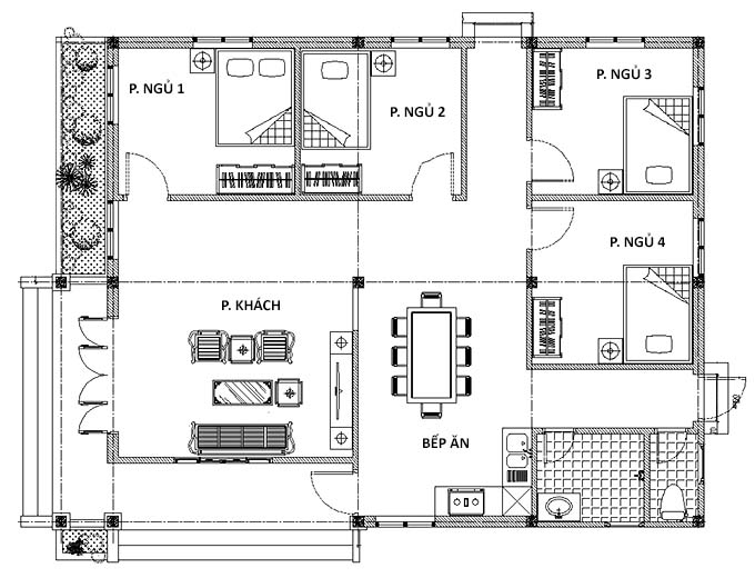 Mặt bằng nhà cấp 4 4 phòng ngủ 130m2