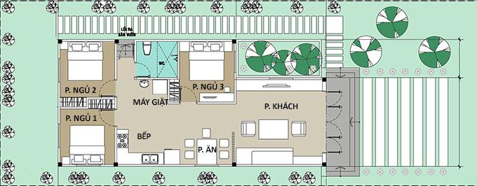 Mặt bằng công năng nhà cấp 4 chữ L 3 phòng ngủ