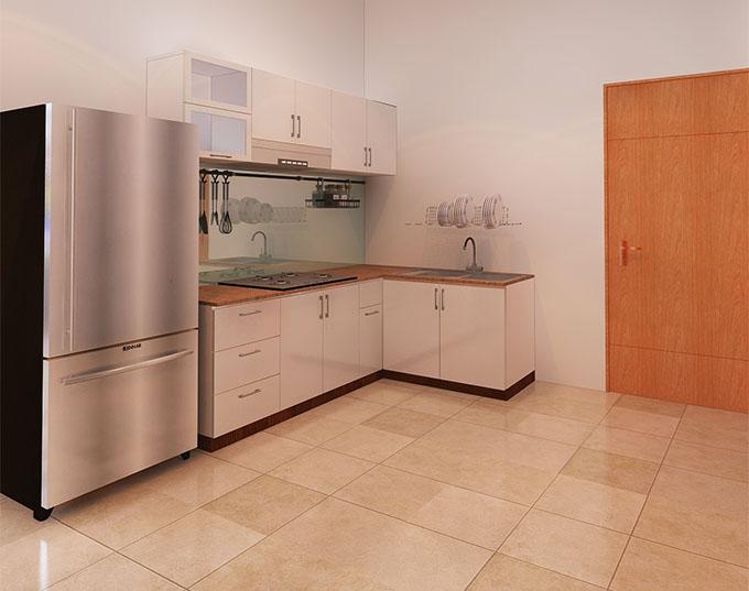 Không gian phòng bếp Mẫu nhà cáp 4 chữ L 3 phòng ngủ hiện đại