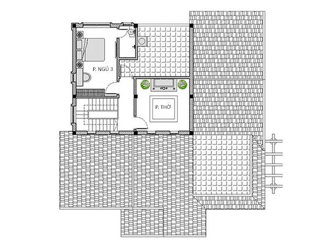 MB Tầng lửng - Nhà cấp 4 gác lửng 3 phòng ngủ mái thái