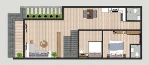 Mặt bằng nhà cấp 4 mái thái 2 phòng ngủ 120m2
