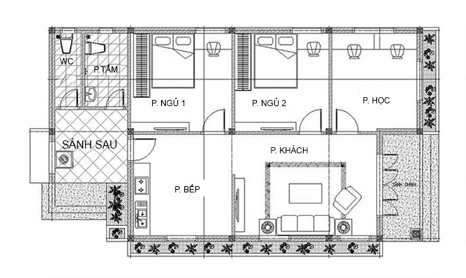 Mặt bằng nhà cấp 4 mái thái 3 phòng ngủ đẹp