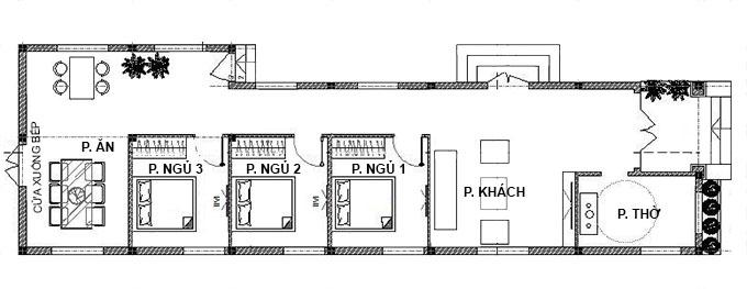 Mặt bằng công năng nhà cấp 4 mái thái 5x20m