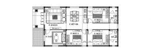 Mặt bằng nhà cấp 4 3 phòng ngủ 5x20m