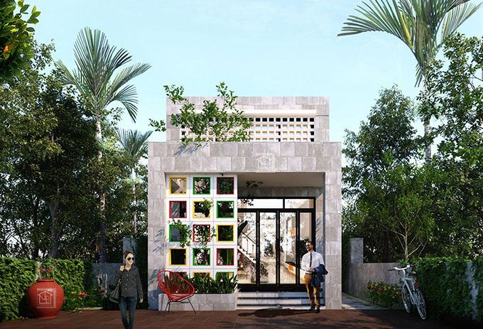 Kiến trúc mặt tiền nhà cấp 4 gác lửng 5x20m hiện đại